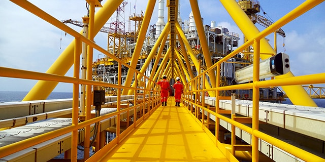 Workers on an oil rig