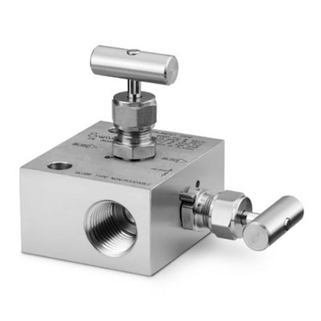Ventilblöcke — 2-fach-Ventilblöcke, Instrumentierung — 2 Ventile, Kugelspindel